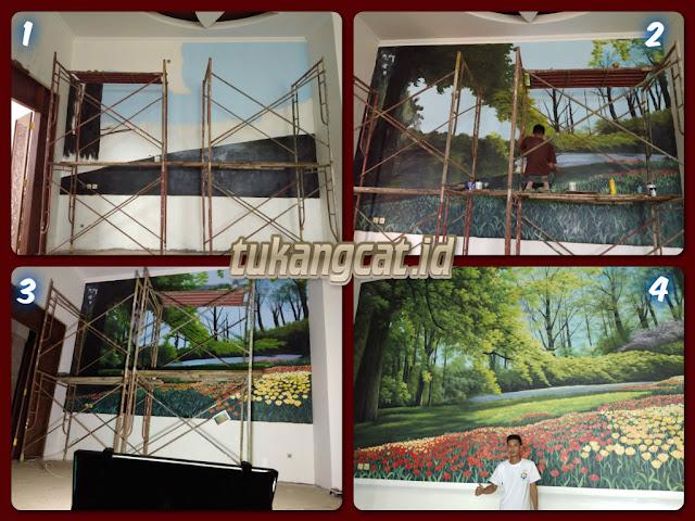 Mural Lukis Dinding pemandangan pohon dan bunga tulip