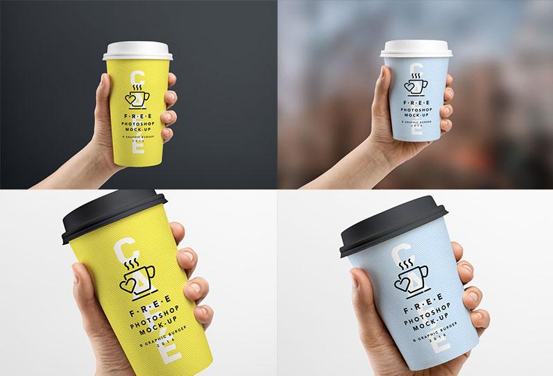 Hand Coffee Cup Mockup PSD
