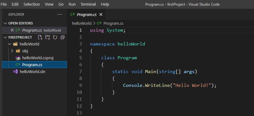 Visual Studio Code C# Console