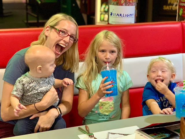 Me sitting in a diner with my children