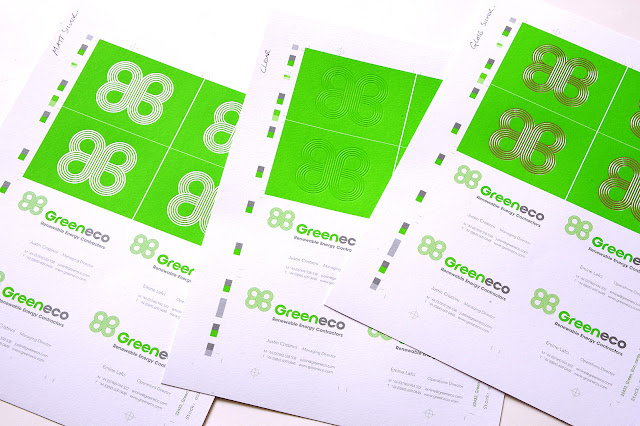 Logo design for Greeneco Renewable Energy business cards uncut