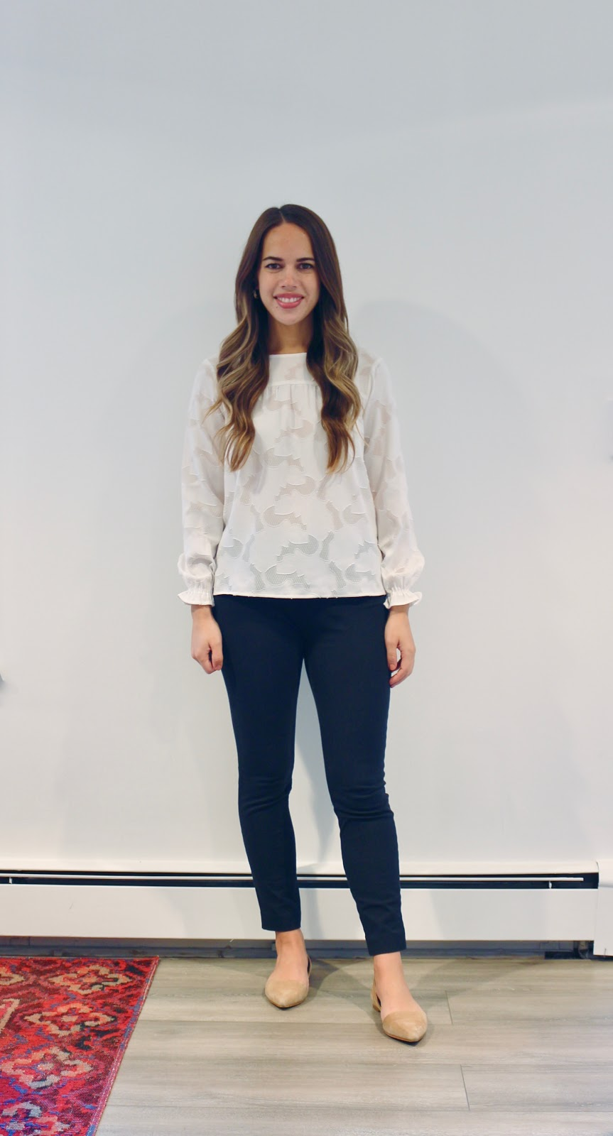 Jules in Flats - Floral Jacquard Blouse (Business Casual Workwear on a Budget)