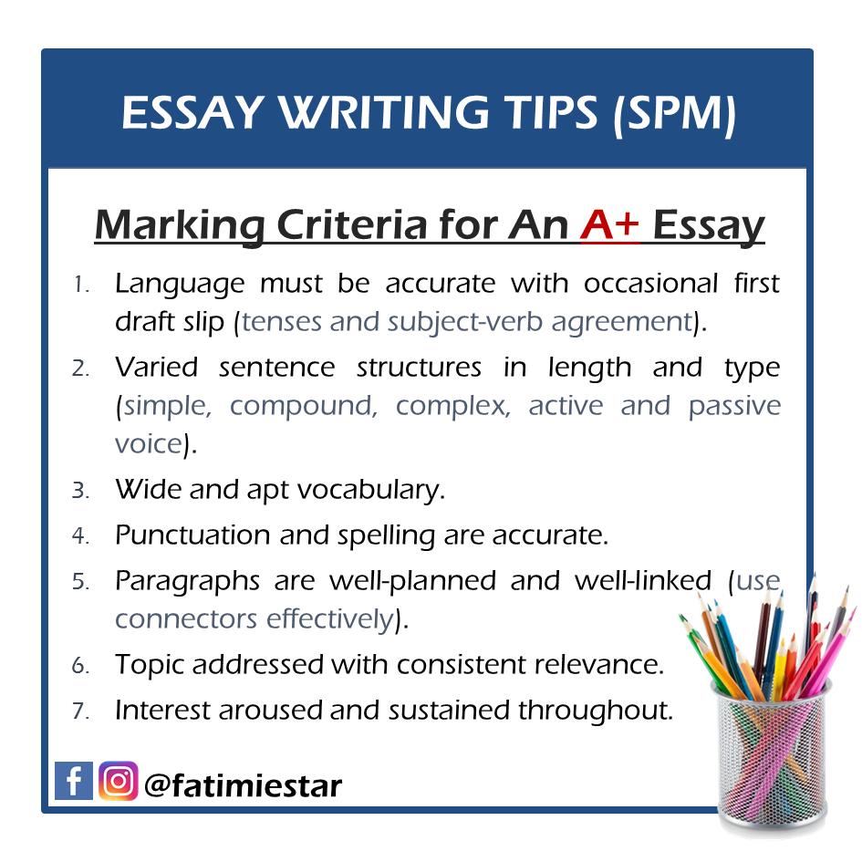 Marking Criteria for An A+ Essay