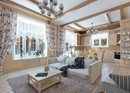 Interior decoration in the style of Provence in a one-story house