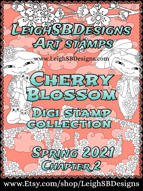 New Cherry Blossom Digi Art Stamps