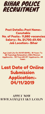 Bihar Police Recruitment 2019 ,Posts for Constable, www.samajayakya.in 2019,www.samajayakya.in,www.samajayakya.com,samaj aya kya,samajayakya,samaj aya kya.com,bihar police recruitment,bihar police recruitment 2019,bihar police si recruitment 2019,bihar police s i recruitment 2019,bihar police constable recruitment 2019,bihar police recruitment 2019 constable