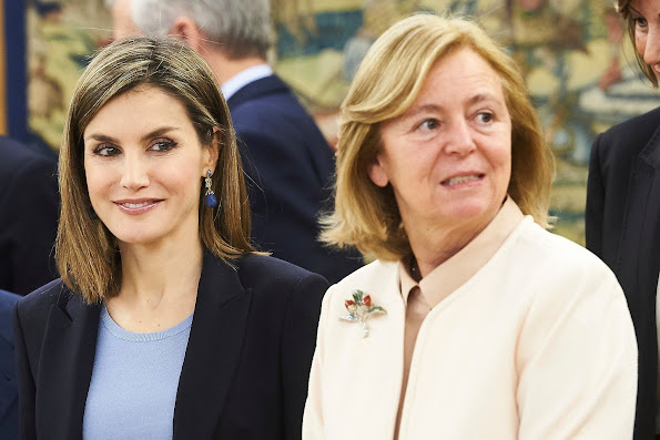 Queen Letizia attends an Audience representatives of the project 'Communication and advertising values education' organized by the Foundation for Help Against Drug Addiction
