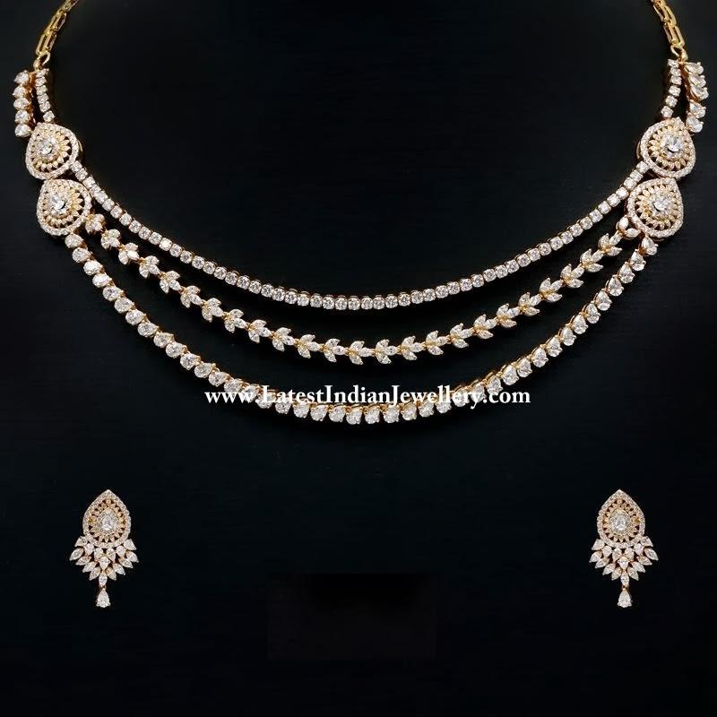 Precious Designer Diamond Necklace Set