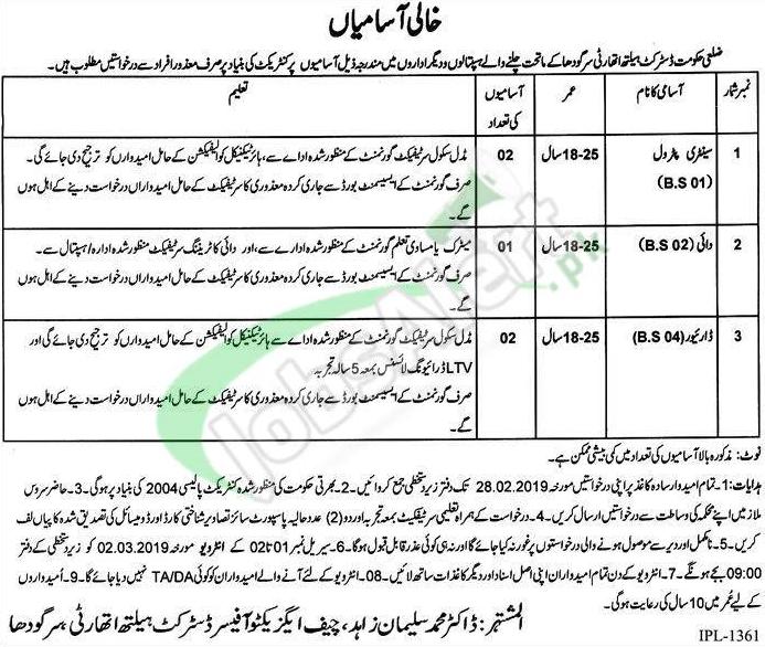 District Health Authority Sargodha jobs 2019