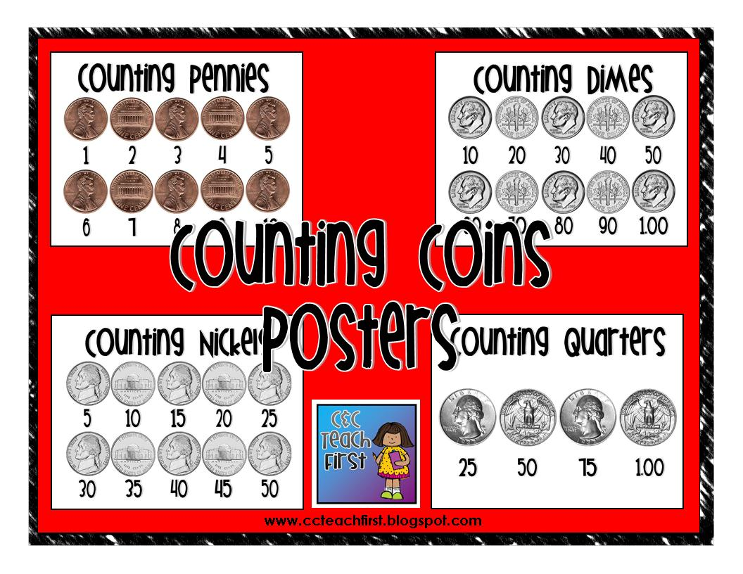 Clip Art By Carrie Teaching First Counting Money Poster