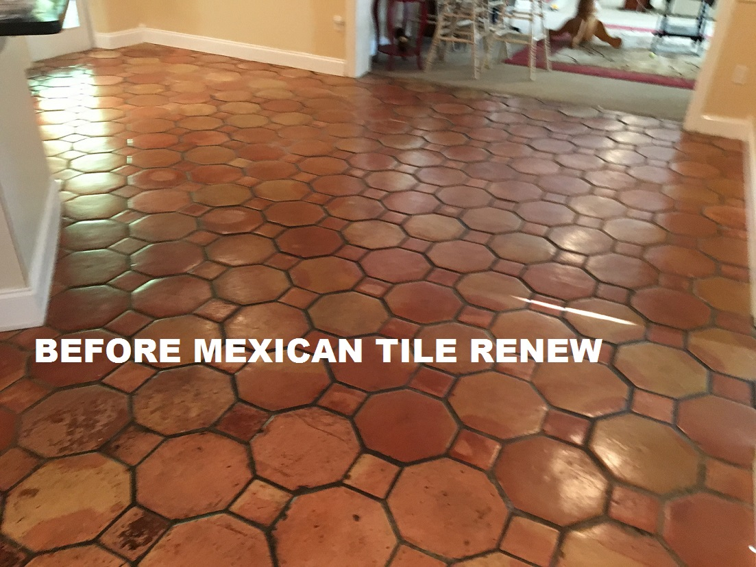 Mexican tile renew sarasota fl cleaning sealing mexican tile mexican tile renew project on tile floor in nokomis fl that had not been resurfaced in 20 years the small brown squares are not supposed to be brown dailygadgetfo Choice Image