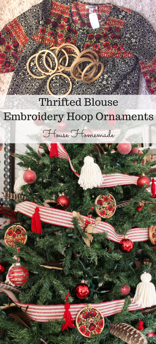 Change your tree theme every year with a thrifted shirt or blanket and embroidery hoops!