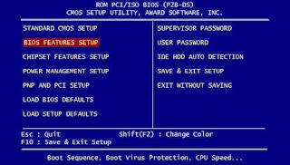 Tampilan menu pada komputer untuk BIOS