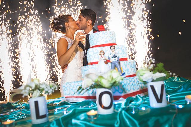 Idde per taglio torta matrimonio fuochi d'artifcio