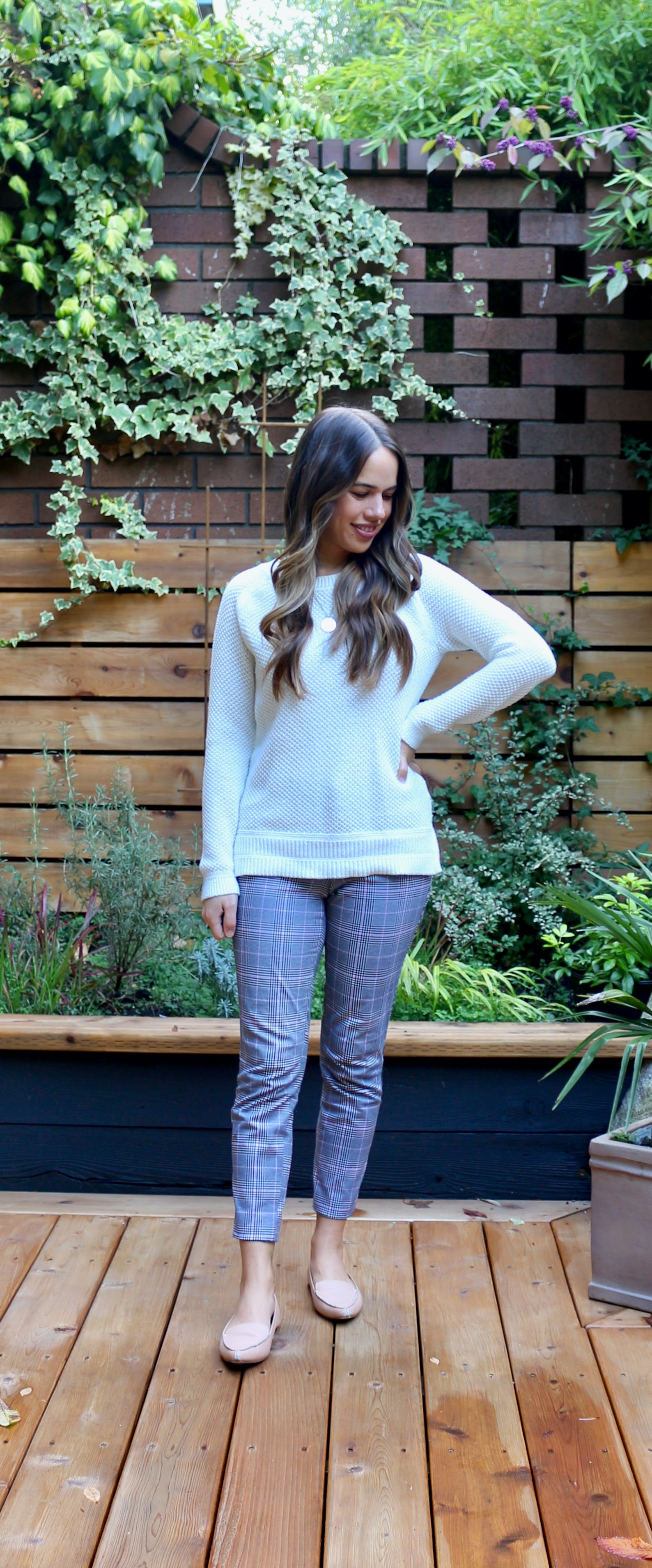 Jules in Flats - Textured Knit Sweater with Plaid Ankle Pants (Business Casual Workwear on a Budget)