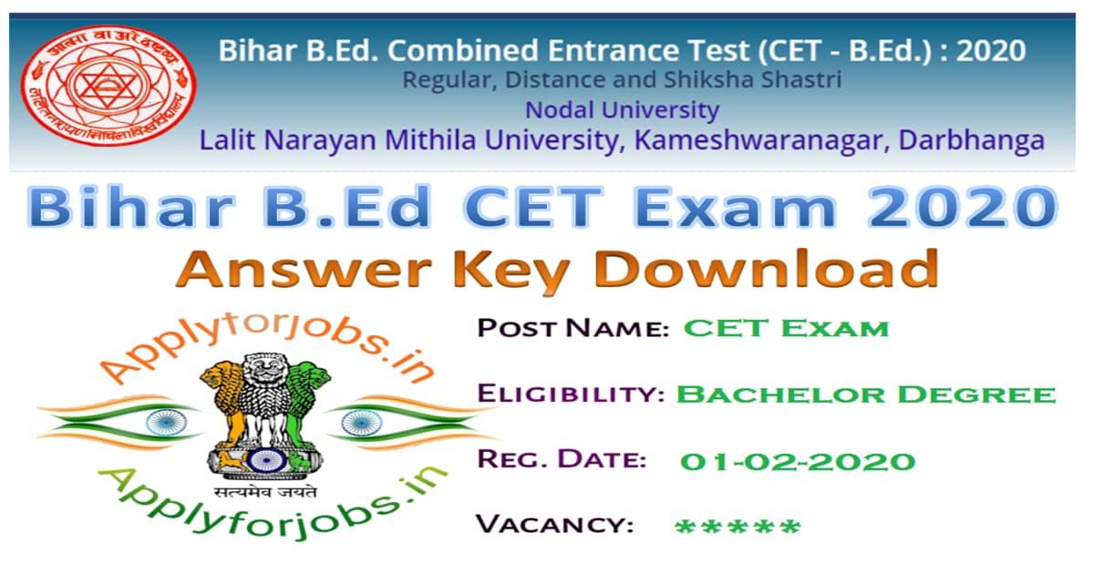 Bihar B.Ed Admit Card & Answer Key 2020
