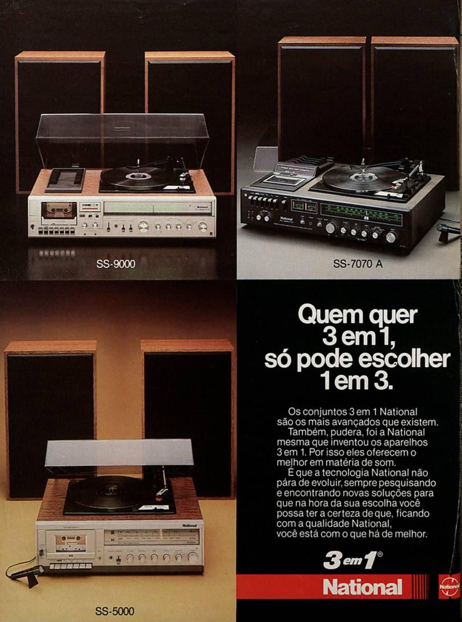 Anúncio do aparelho de som 3 em 1 da National veiculado em 1983