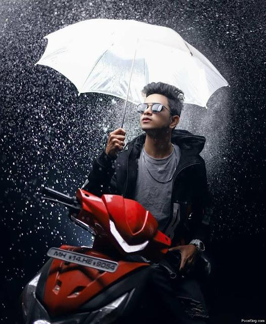 Boys Pose For Photoshoot With Umbrella