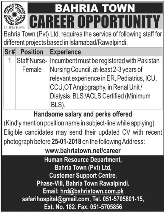 Jobs In Bahria Town Pvt Limited  Islamabad Dec 2017