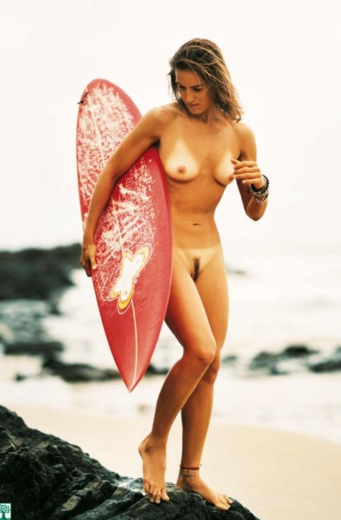 Naked surfer girl