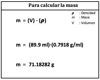 calculo de la masa