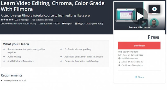 [100% Free] Learn Video Editing, Chroma, Color Grade With Filmora