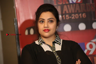 Tamil Actress Meena Latest Stills in Black Dress at TSR TV9 Awards Press Meet  0178.JPG