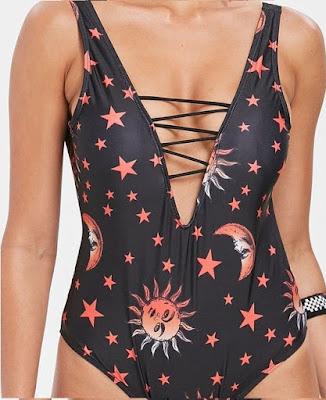Rosegal-Criss-Cross-Print-One-Piece-Swimsuit star moon, mjesec, zvijezde, jednodjelni kupaći kostim, badić, bazeni, pools, plivanje, swim, swimming, summer, ljeto