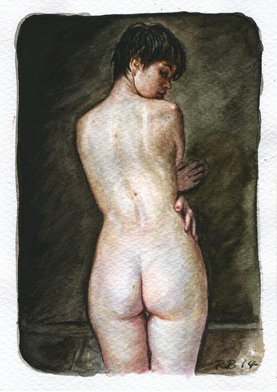 René Bui - Etude de nu à l'aquarelle #140106 - 12cm x 17cm - 2014