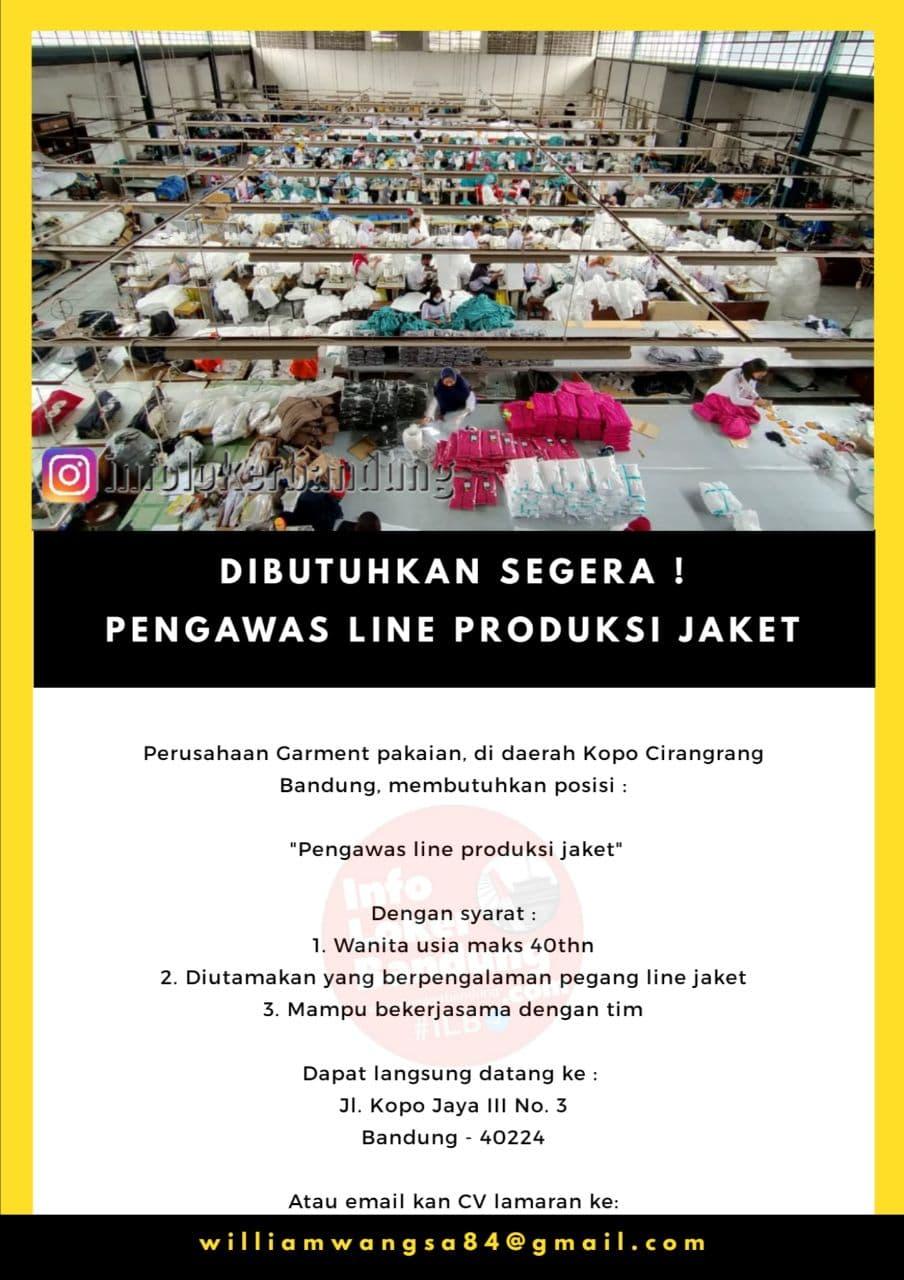 Lowongan Kerja Pengawas Line Produksi Jaket Perusahaan Garment Bandung Januari 2021