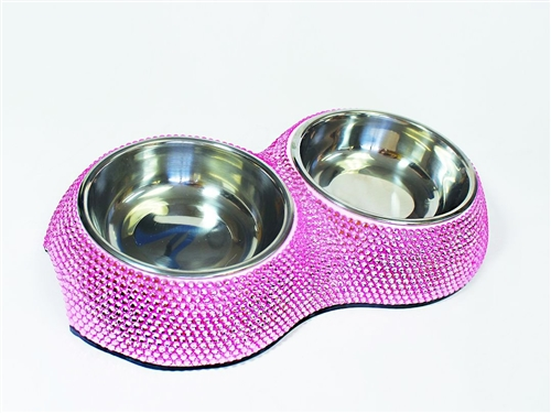 Crystal Dining Bowls in Pink