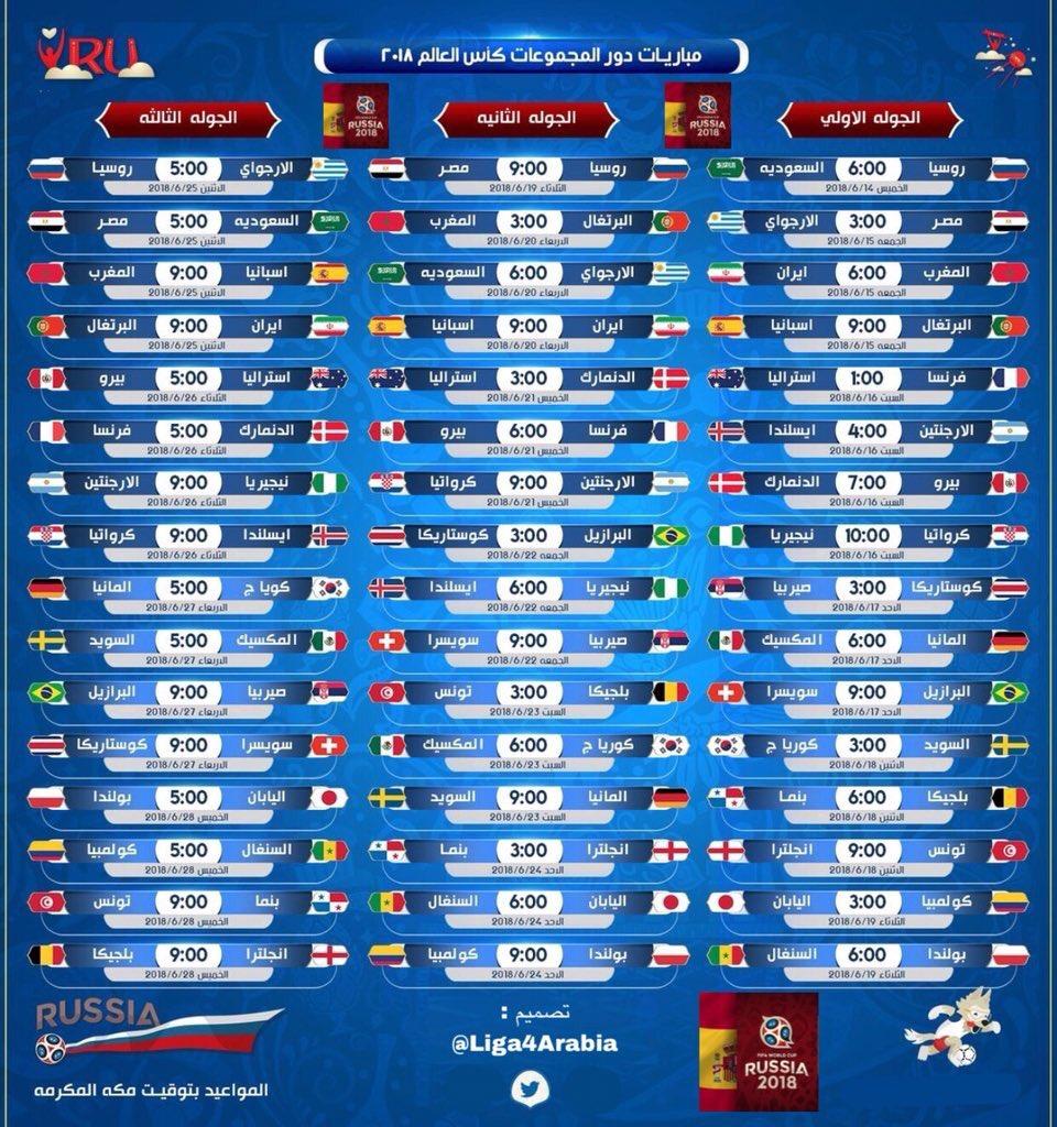 كأس العالم روسيا 2018 جدول المباريات والتوقيت والملاعب والمجموعات