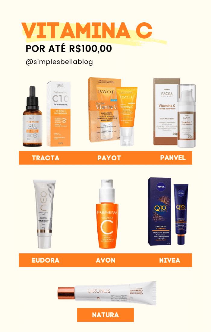 7 Opções de Vitamina C para o rosto por até R$100,00