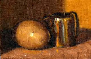 Oil painting of a potato beside a small silver-plated jug.