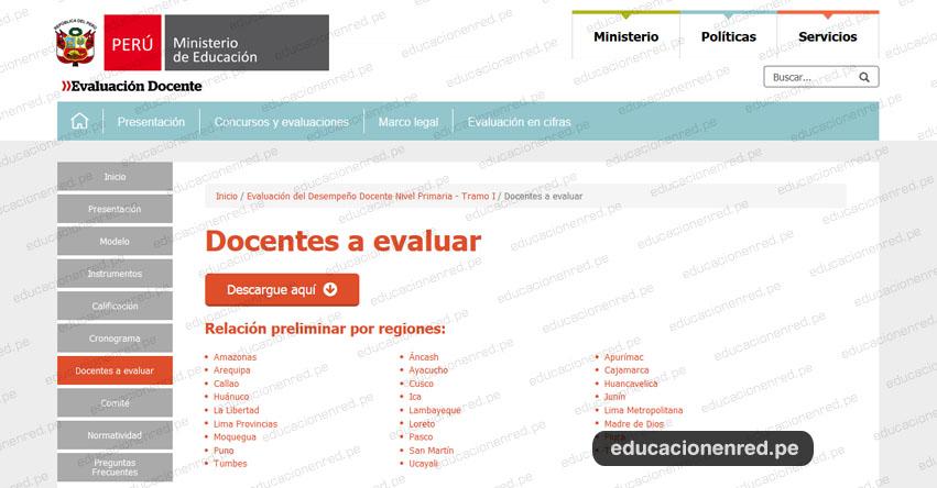 MINEDU: Relación Preliminar Consolidada - Evaluación del Desempeño Docente Nivel Primaria - Tramo I (9 Diciembre) www.minedu.gob.pe
