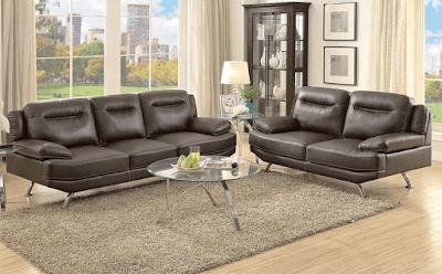 Monterey Espresso Leather Sofa Set Furniture