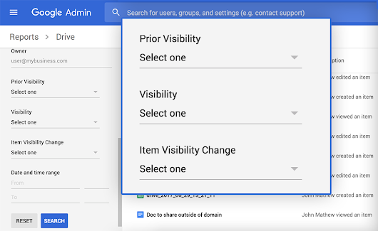 An easier way to view changes to the visibility of Google Drive files