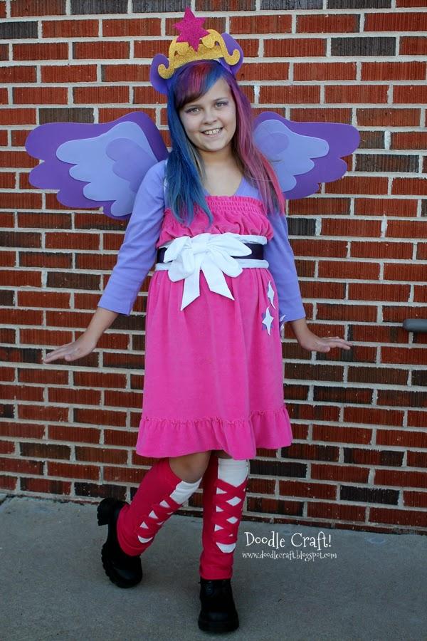 Twilight Sparkle Equestria Girls Dance Halloween costume or cosplay, with wings, headband, dress and faux bang tutorial.