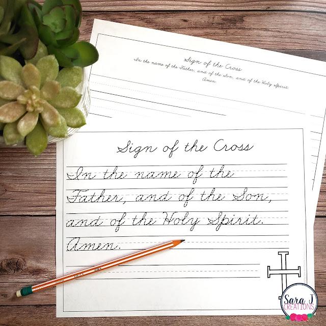 Catholic handwriting practice to help with vocabulary and prayers