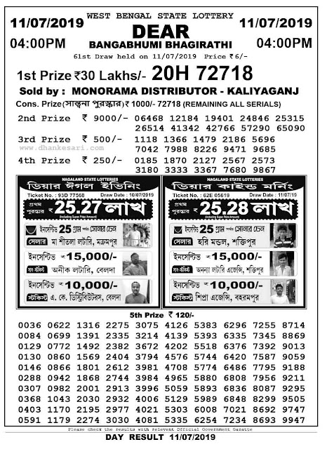 dhankesari today result dear lottery 19 July 2019, today result, dear lottery result, nagaland lottery result, west bengal state lottery result