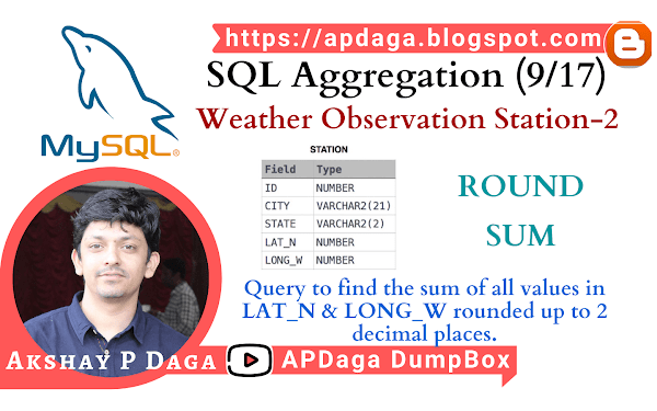 HackerRank: [SQL Aggregation - 9/17] Weather Observation Station-2 | ROUND, SUM function in SQL