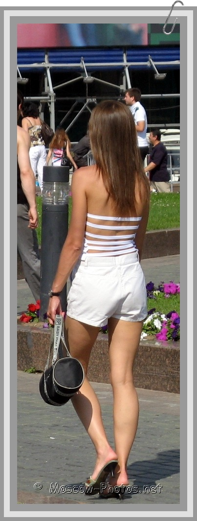 Moscow girl in white summer suit
