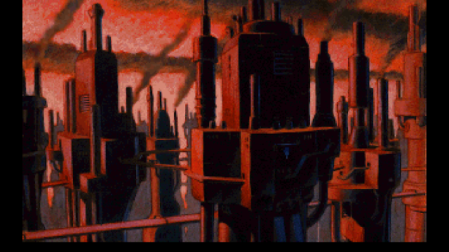 Screenshot of Union City in the intro to Beneath a Steel Sky