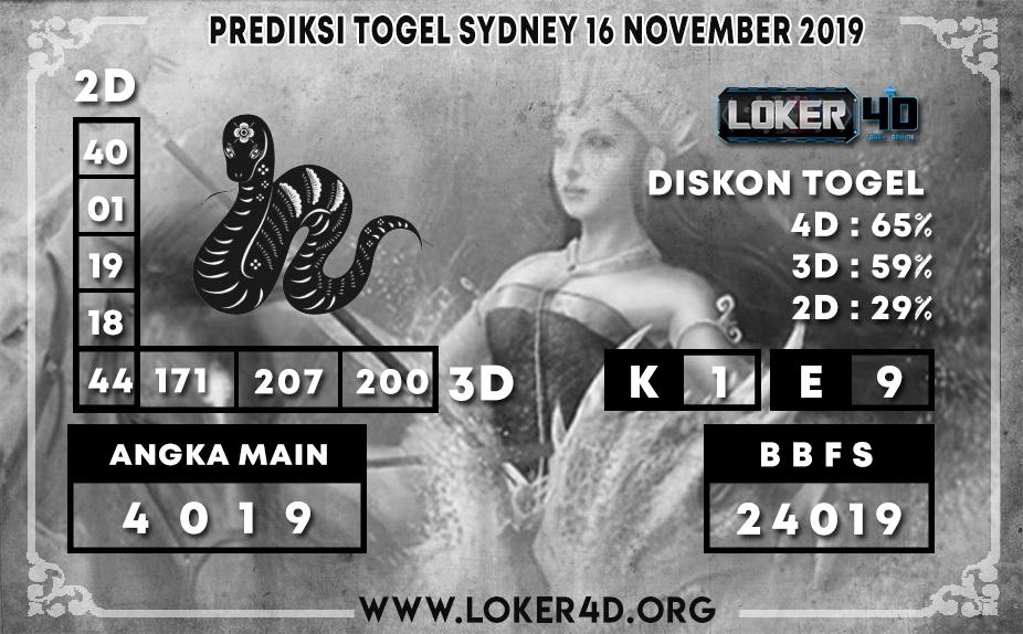 PREDIKSI TOGEL SYDNEY LOKER4D 16 NOVEMBER 2019