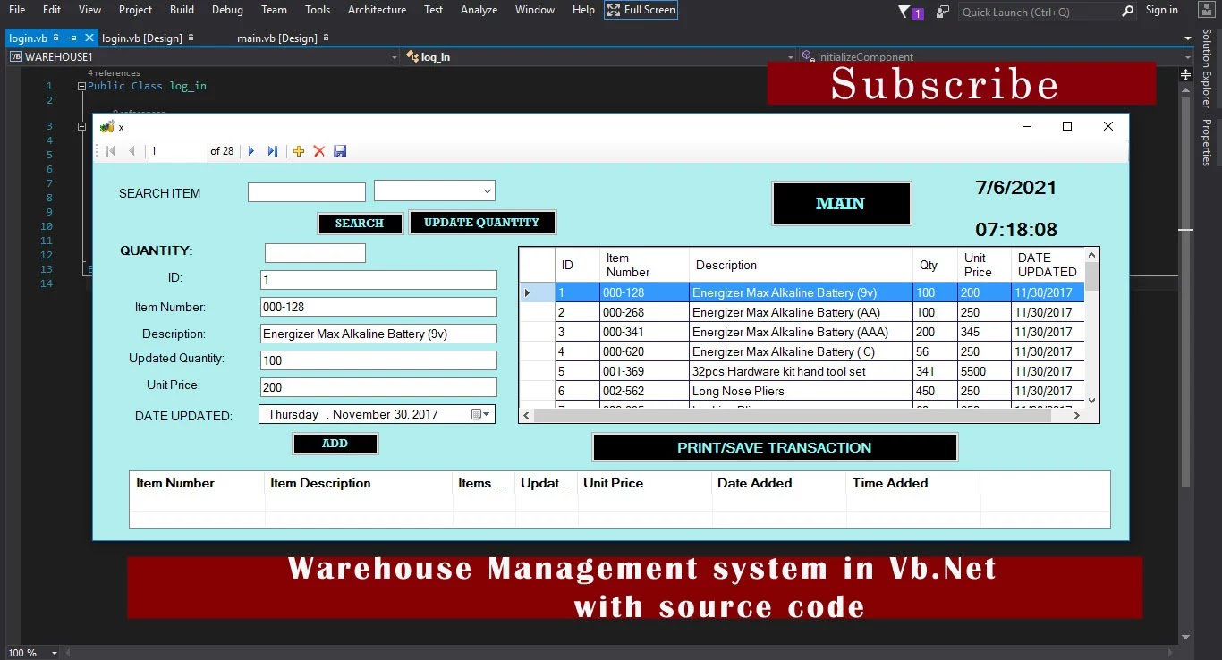Warehouse Management system in Vb.Net with full source code