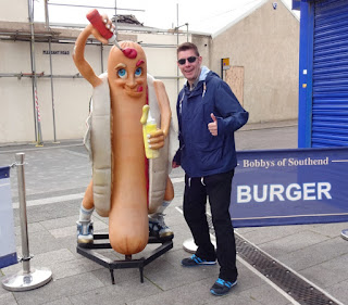 A hot dog mascot in Southend on Sea