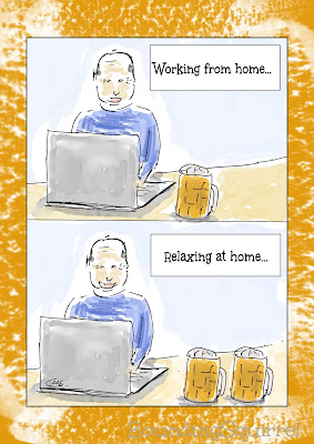 This cartoon shows a man working from home. He's on a laptop, with one beer beside him. The picture below is identical, except it says, relaxing at home, and the picture shows him smiling, and with two beers.