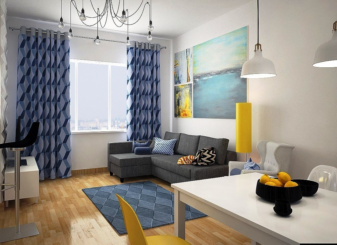 Interior design of one-room apartment 27 sq.m - Decor Units