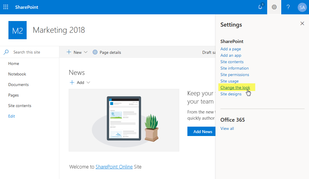 sharepoint online powershell change theme