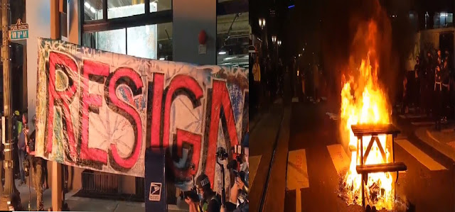 """Hundreds of Protesters """"Celebrate"""" Portland Mayor's Birthday with Fire and Demanded his Resign"""